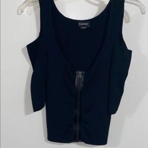Bebe Cold shoulder 3/4 sleeve black zip up blouse